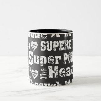Supergirl Distressed Text Two-Tone Coffee Mug