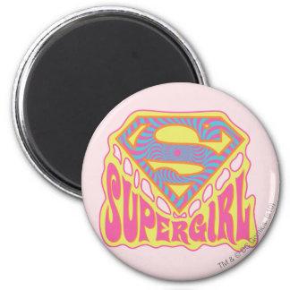 Supergirl Groovy Logo 6 Cm Round Magnet