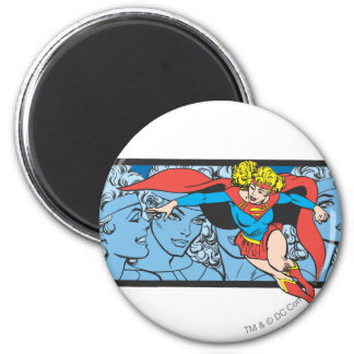Supergirl Head Shots 6 Cm Round Magnet