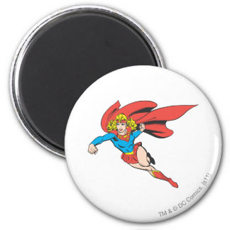 Supergirl Leaps and Punches 6 Cm Round Magnet
