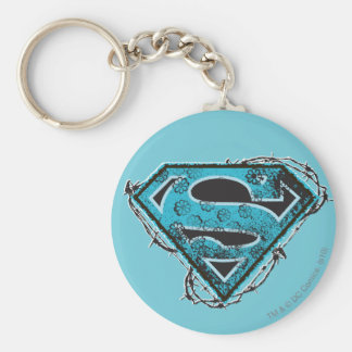 Supergirl Logo Barbed Wire and Flowers Basic Round Button Key Ring