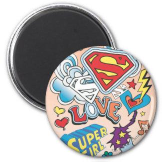 Supergirl Love 6 Cm Round Magnet
