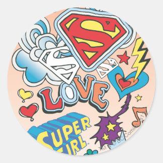 Supergirl Love Round Sticker
