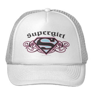 Supergirl Pin Strips Black and Pink Trucker Hat
