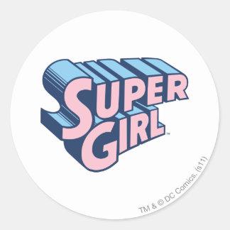 Supergirl Pink and Blue Logo Round Sticker