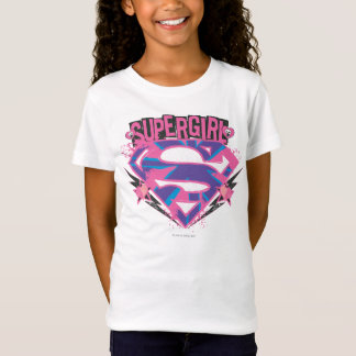 Supergirl Pink and Purple Grunge Logo T-Shirt