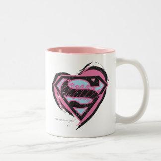 Supergirl Pink Logo in Heart Two-Tone Coffee Mug