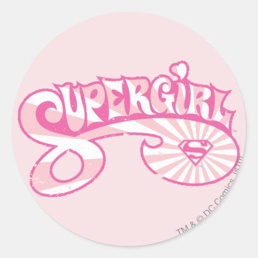 Supergirl Pink Logo Star Burst Stickers