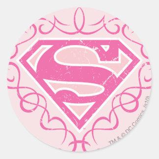 Supergirl Pink Stripes Classic Round Sticker