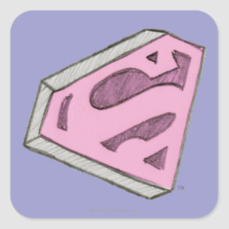 Supergirl Sketched Pink Logo Square Sticker