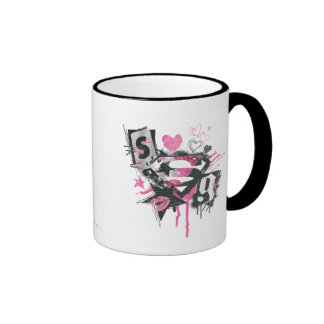 Supergirl Spills and Scribbles Collage Ringer Mug