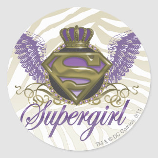 Supergirl Zebra Print Classic Round Sticker