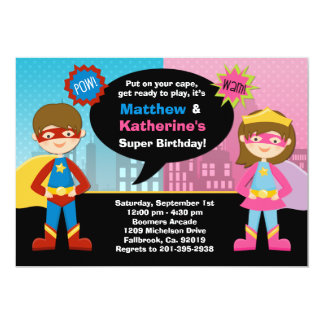 Superhero and Super Girl Birthday Party Invitation