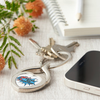 Superhero Becoming a Big Brother Silver-Colored Twisted Heart Key Ring