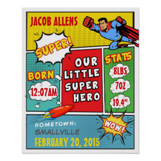 Superhero Birth Announcement - Wall Art Poster
