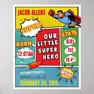 Superhero Birth Announcement - Wall Art Poster