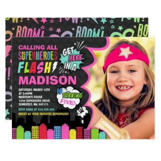 Superhero Birthday Invitation Pink Superhero Party
