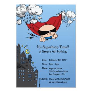 Superhero Birthday Party Invitation Card