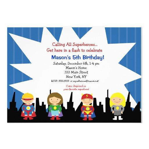 Superhero Birthday Party Invitations