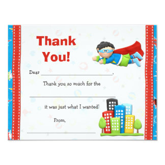 Superhero Birthday Party Thank You Card