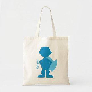 Superhero Boy Silhouette Personalized Blue Tote Bag