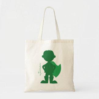 Superhero Boy Silhouette Personalized Green Tote Bag