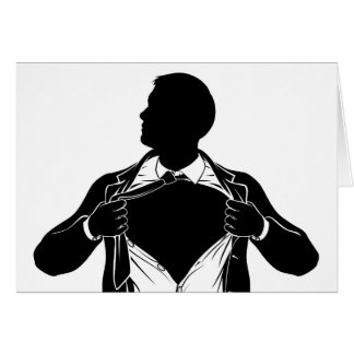Superhero Business Man Tearing Shirt Showing Chest Card