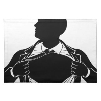 Superhero Business Man Tearing Shirt Showing Chest Placemat