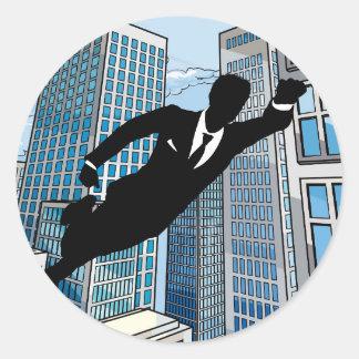 Superhero Businessman Classic Round Sticker