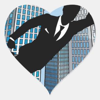 Superhero Businessman Heart Sticker