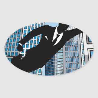 Superhero Businessman Oval Sticker