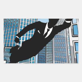 Superhero Businessman Rectangular Sticker