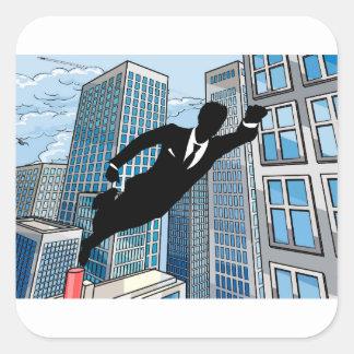 Superhero Businessman Square Sticker