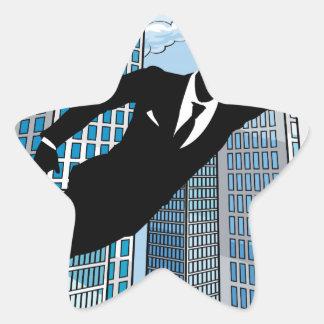 Superhero Businessman Star Sticker