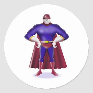 superhero caped male standing comics style round sticker