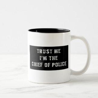 Superhero Chief of Police Two-Tone Coffee Mug