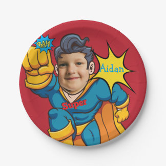 Superhero Child Custom Birthday Paper Plate
