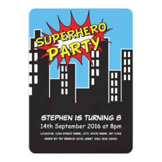 Superhero City Skyline Kids Birthday Card
