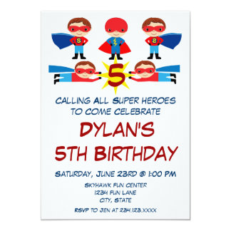 "Superhero Comic Book Character Birthday Invitation 5"" X 7"" Invitation Card"