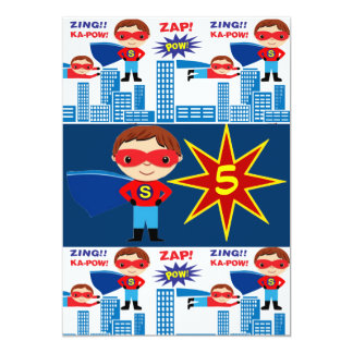 "Superhero Comic Book Kids Birthday Invitations 5"" X 7"" Invitation Card"