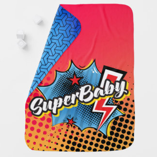 Superhero comic book SuperBABY blanket gift BLUE