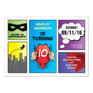 Superhero Comic Strip Kids Birthday 13 Cm X 18 Cm Invitation Card