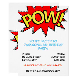 "Superhero Costume Birthday Party ""POW!"" Template"