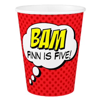 Superhero Custom Birthday Paper Cup - BAM