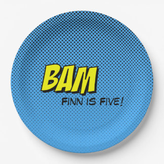 Superhero Custom Paper Plate - BAM Blue Back