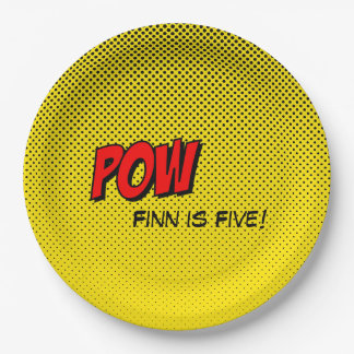 Superhero Custom Paper Plate - POW Yellow Back