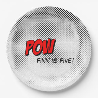 Superhero Customizable Paper Plate - POW Red