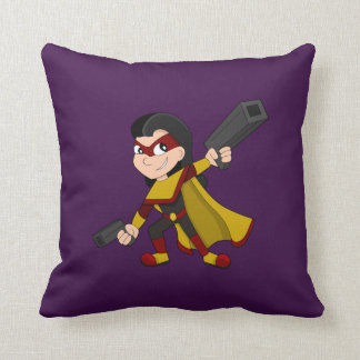 Superhero girl cartoon cushion