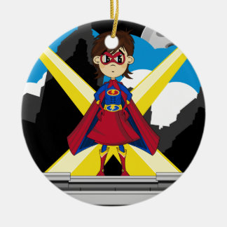 Superhero Girl on Rooftop Ceramic Ornament