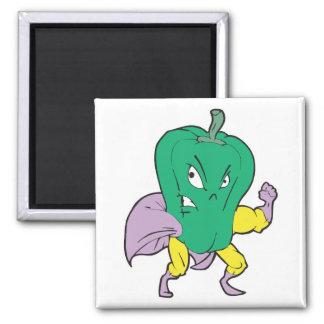 superhero green pepper cartoon character square magnet
